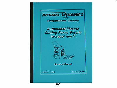 Thermal Dynamics Pakmaster 150xl Plasma Cutter Service Manual 985