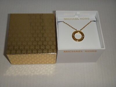 Michael Kors Women's Haute Hardware Gold Tone Necklace Crystals MKJ6379710 + BOX