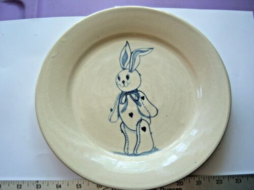 Stoneware Plate Easter Rabbit Bunny EJ Humphries Marshall Pottery Free Shipping