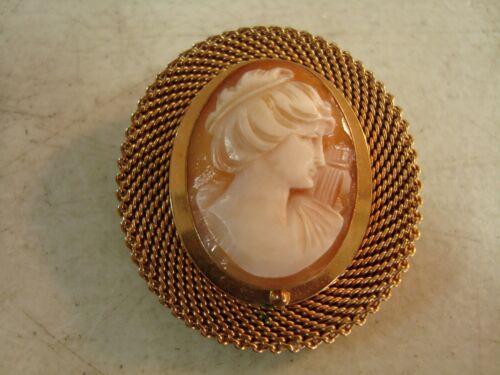 Vtg VAN DELL 12K Gold Filled CAMEO Brooch Pin Pendant NICE*