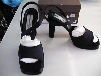 PR.WOMENS BLACK SATIN PLATFORM MARIA CRISTINA STRAP SHOE SZ 5 1/2 M USED GD CON Maria Womens Dress Heels Shoes