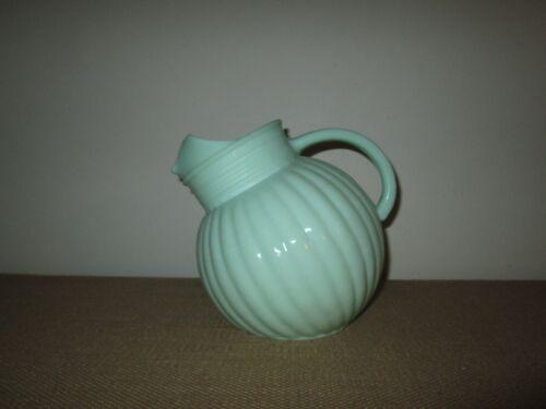 Unmarked Jadeite Green Milk Glass Large Vertically Ribbed Ball Jug Pitcher