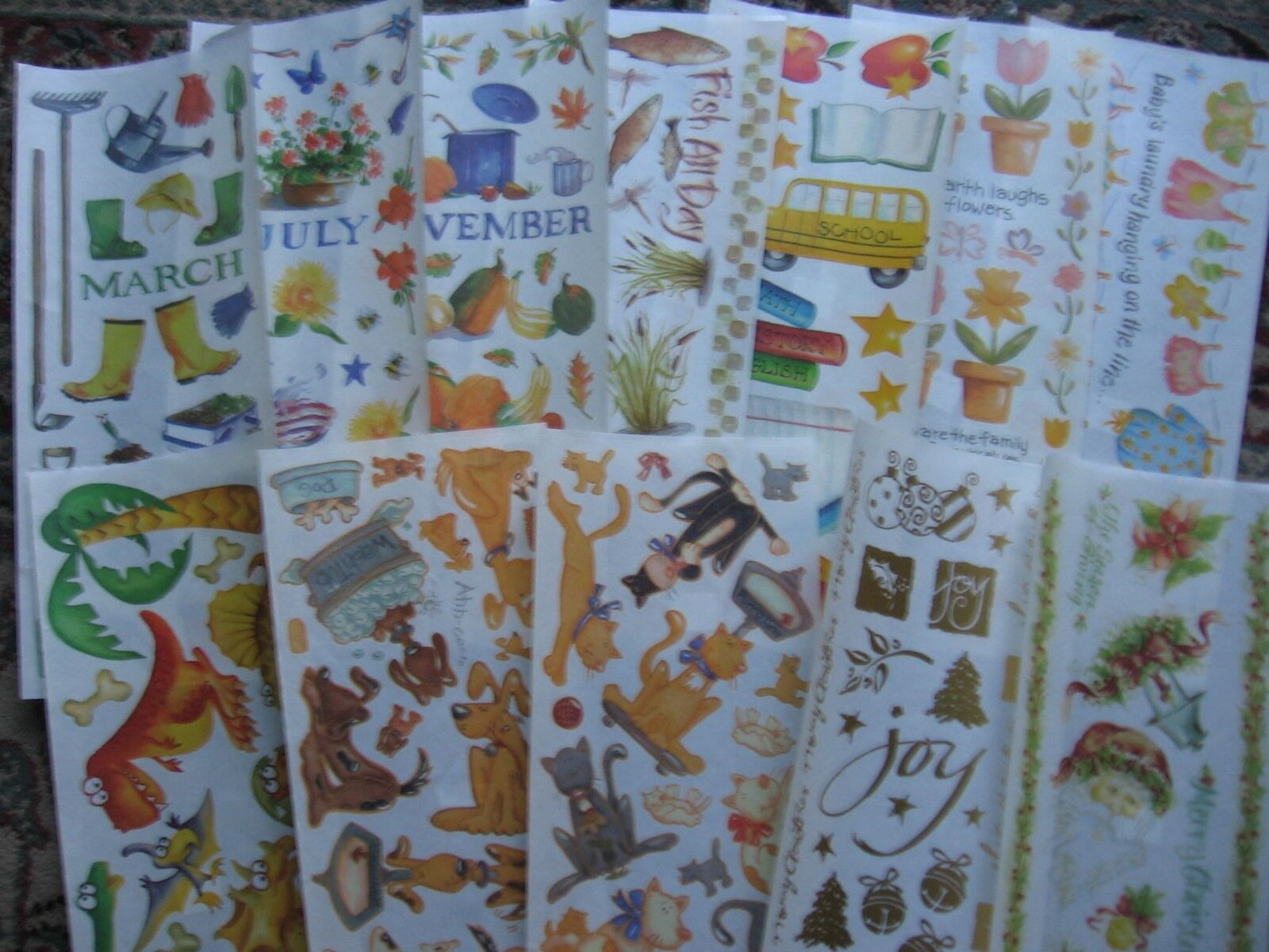 Provo Craft Stickers Months Dogs Cats Fishing Flowers Christ