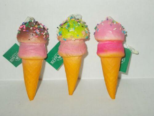 NEW KURT ADLER DOUBLE SCOOP SPRINKLE ICE CREAM CONE ORNAMENTS X 3 FREE SHI