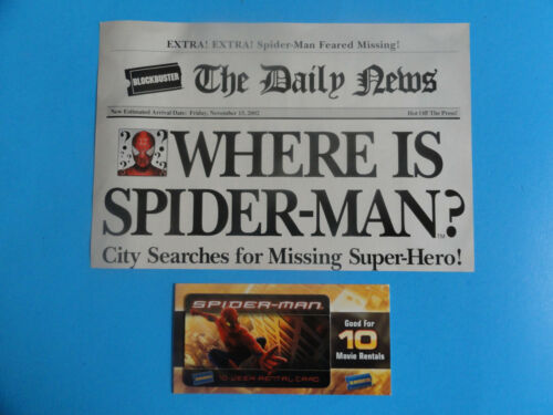 SPIDER-MAN BLOCKBUSTER VIDEO CARD & DAILY NEWS PAPER 2002 -NEW *NO VALUE ON CARD