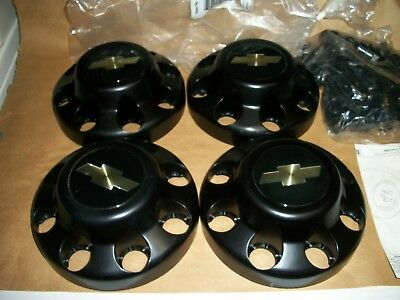 NOS Chevrolet 8 lug Black Center Caps 88-00 1500 2500 3500 Truck Van P/N 46268