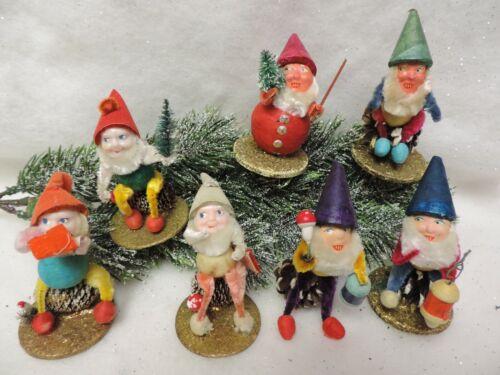 "LOT 7 VINTAGE CHRISTMAS DWARFS ELVES GNOMES FIGURES 3"" TALL PINE CONE JAPAN"