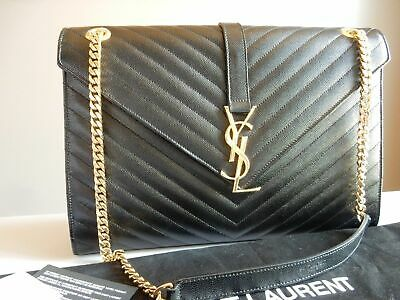 YSL Yves Saint Laurent Black Monogram Large Grained Chain Bag
