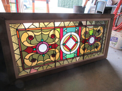 ~ ANTIQUE STAINED AND BEVELED GLASS TRANSOM WINDOW 24 JEWELS ~ 46 X 23 ~ SALVAGE