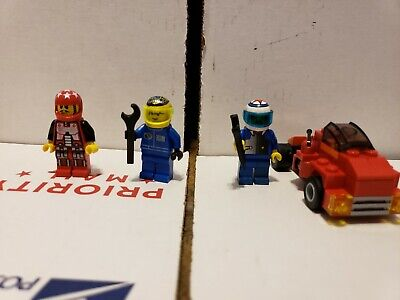 4 Lego Race Car Driver Minifigs lot racers racecar city town tiger shark colors