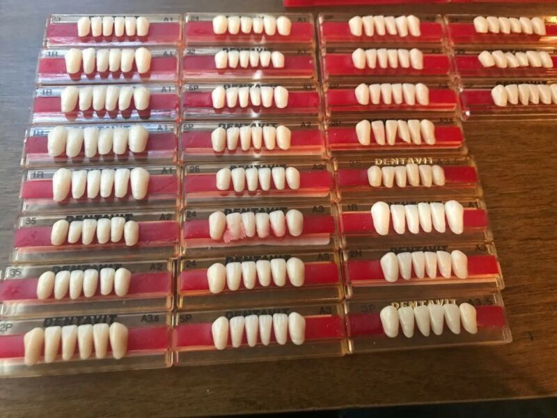 Dentavit Denture Teeth Dentorium USA 27 Cards! 162 Lower Anterior Teeth!
