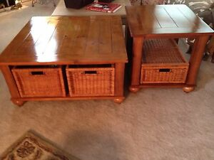 oak coffee amp end tables with storage baskets ebay. Black Bedroom Furniture Sets. Home Design Ideas