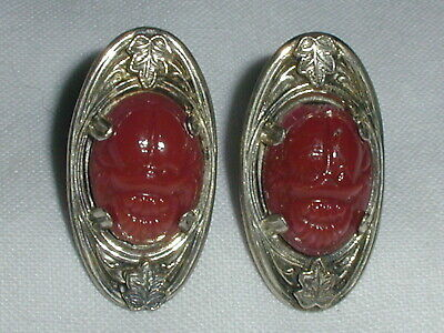 1920s Art Deco Jewelry: Earrings, Necklaces, Brooch, Bracelets ART DECO STERLING GLASS SCARAB EARRINGS! $29.00 AT vintagedancer.com
