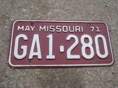 MAY 1971 ORIGINAL Vintage GA1 280 Missouri License Plate MO only one