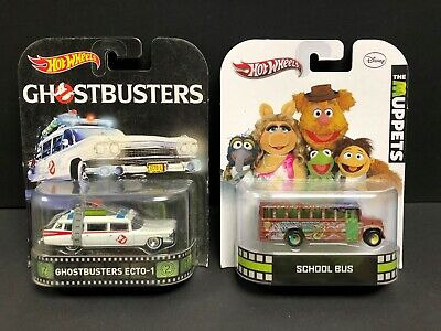 Hot Wheels Retro Entertainment 2015 Ecto-1, 2012 Muppets School Bus, Lot Of 2.