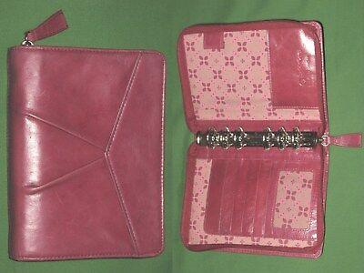 Pocket 1.0 Pink Floral Red Full Grain Leather Franklin Covey Planner Binder