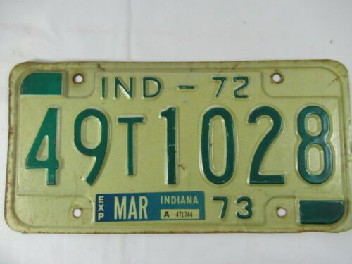 Vintage 1972 1973 Indiana License Plate Marion County Car Tag