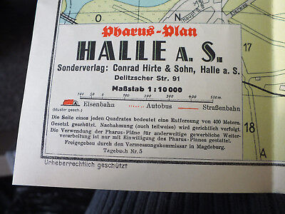 Stadtplan Halle, Pharus-Plan, 1:10000, top Zustand