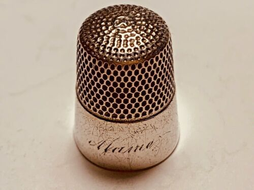 Vintage Sterling  Thimble (S WITH SHEILD )  ID. Number 423