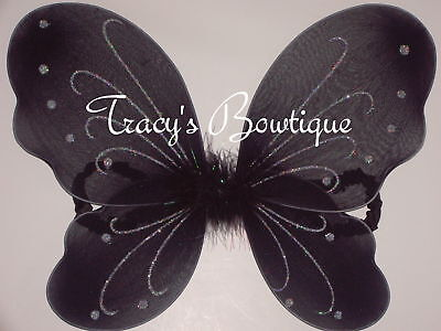 Black Angel Dress Up (Black Butterfly Fairy Angels Wings Dress Up Costumes Gymnastics Party Halloween)