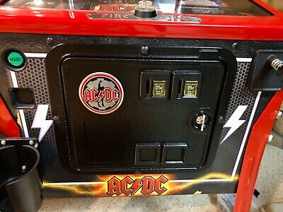 New ACDC AC/DC Pinball Machine Coin Door Metal Medallion Mod