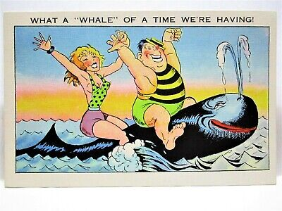 1930s POSTCARD WHAT A WHALE OF A TIME WE'RE HAVING - COUPLE RIDING WHALE