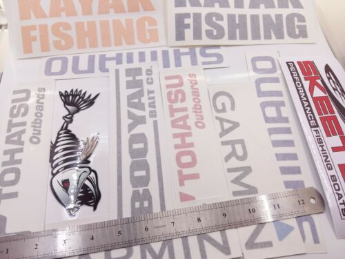 LOT of (11) Fishing Decals Fishing Stickers LARGE for Brand Lovers