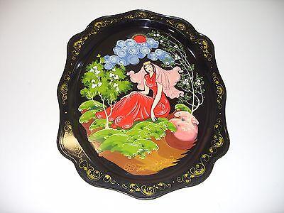 Schönes russisches Tablett Metall emailiert mit Ölfarben bemalt Märchenmalerei