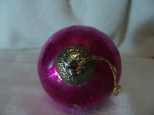 Vintage Christmas Kugel Large Ornament Pink Crackle Free