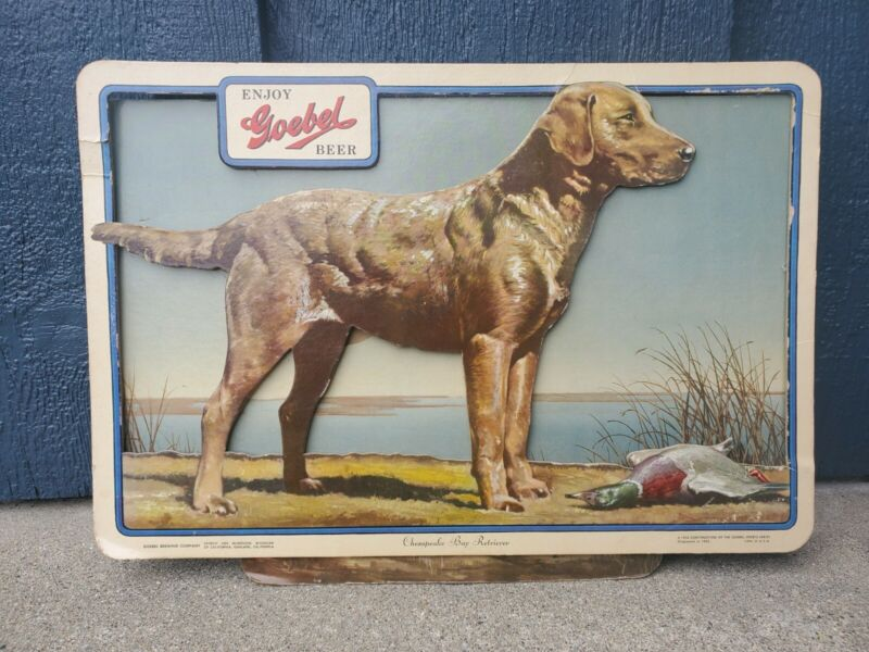 Vintage Goebel Beer Sign - 1954 3-D Cardboard Sign - Chesapeake Bay Retriever