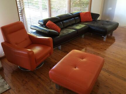 Leather Lounge Suite - 3 Seater + Chaise, Swivel Chair & Ottoman Garden Suburb Lake Macquarie Area Preview