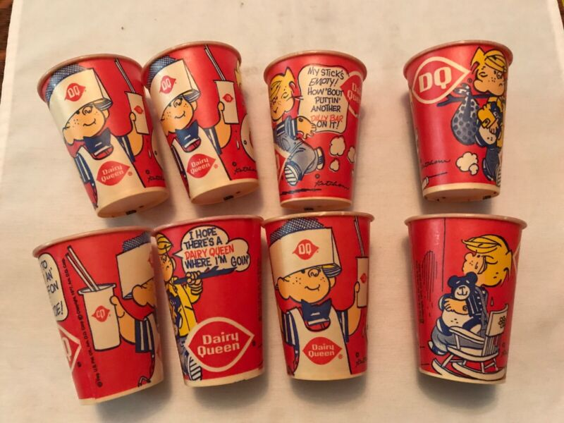 8 Vintage 1977 Dairy Queen Waxed Lily Cups