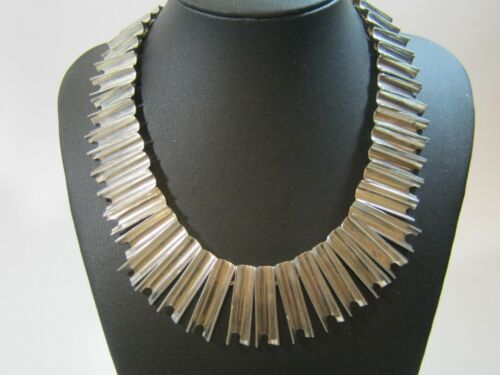 Vintage Mexican Sterling Silver Modernist Necklace * Heavy 129 Grams * Amazing!