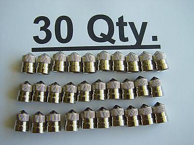 (30) BRASS Metal Chrome Plated Tire Wheel Air Valve Caps for Auto Car Bike Truck