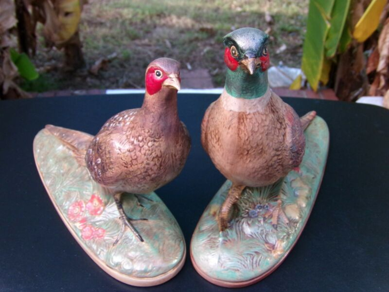 VINTAGE HOLLAND MOLD CERAMIC PAIR PHEASANTS MANTELPIECE BIRD FIGURINES