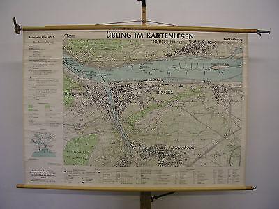 Schulwandkarte Wall Map Old Beautiful Map Bingen Rudesheim 140x97cm ~ 1955 Rhine