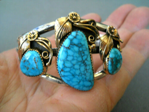 Native American Navajo Lone Mountain Turquoise Sterling Silver Cuff Bracelet
