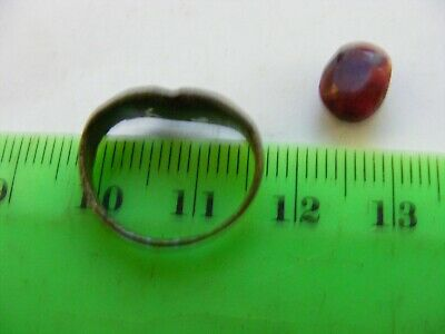 Ancient  Bronze Ring,,European but origin unknown.,size 16mm x 13mm,with Ruby .F