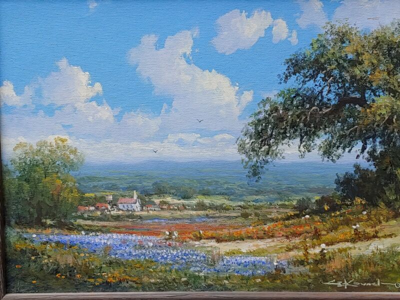George Kovach Texas Impressionist Landscape Painting W Bluebonnets Well Listed