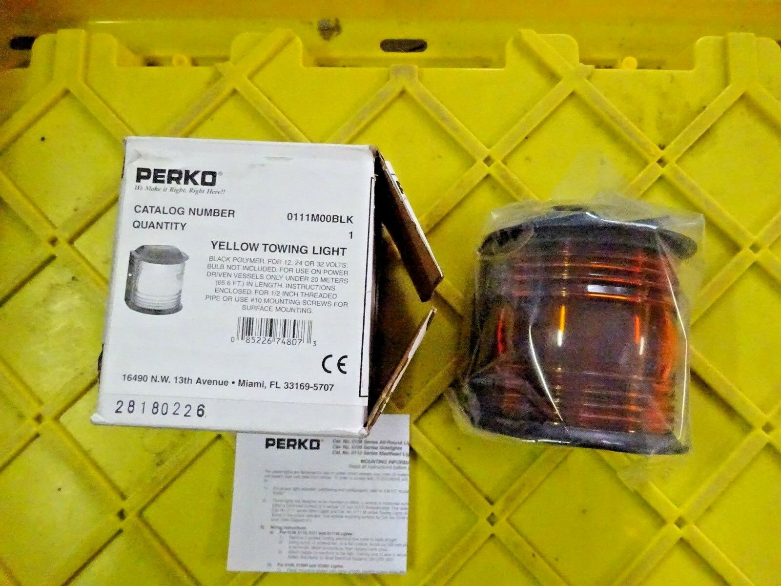 PERKO Yellow Towing Light, 111-M00-BLK, For 12 or 32 Volts