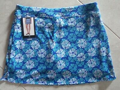 "NEW TRANQUILITY COLORADO CLOTHING YOGA GOLF SKORT SKIRT Blue ""SHIMMER"" Sz. LARGE"