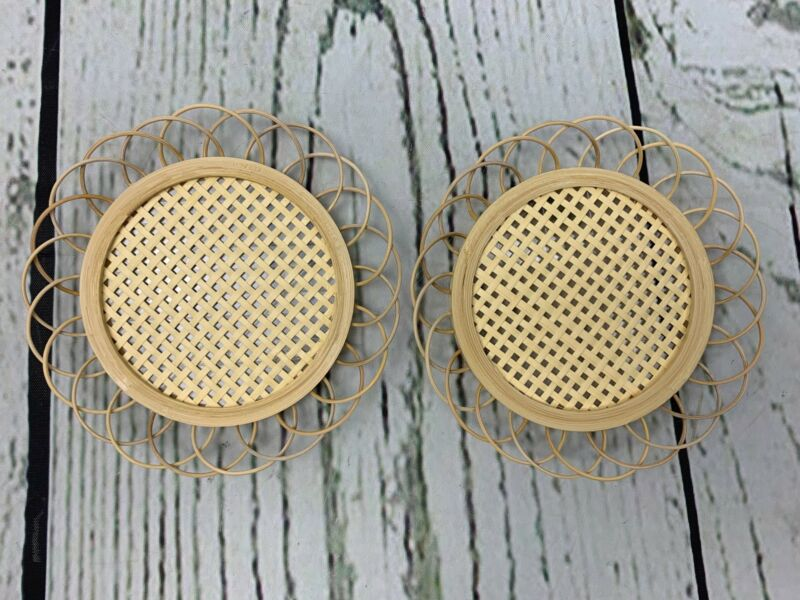 Set Of 2 Bamboo Rattan Coasters Handcrafted Rattan Drink Coasters With Webbing