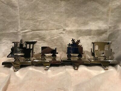 Chrome Polished Metal Train Christmas Stocking Hanger Holder Set 4 Super Shiny!