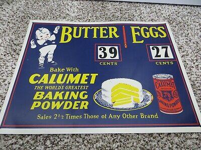 "Antique Calumet Baking Powder Butter & Eggs 11"" x 14"" Metal sign vintage kitchen"