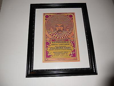 "Large Framed Jimi Hendrix 1968 Joshua Light Show Handbill Poster 24"" by 20"""