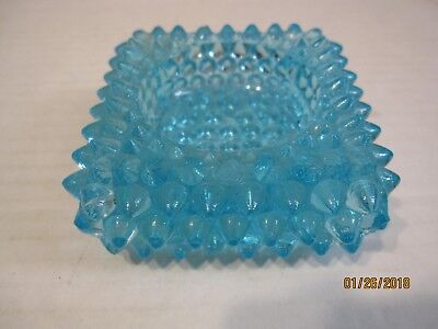 Vintage Fenton Blue Glass Hobnail Small Square Ashtray b63