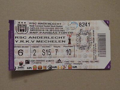 TICKET : RSC ANDERLECHT - KV MECHELEN 04-02-2018