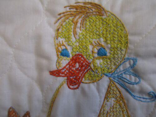 Vintage cross stitch duck completed baby bib