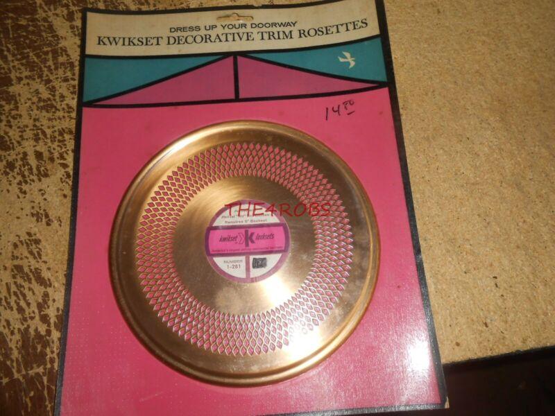 Vintage 1963 Kwikset Mid Century Decorative Brass Door Knob Trim Rosette #2
