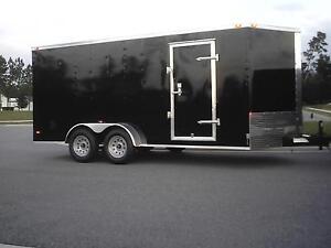 New-7x16-Enclosed-Trailer-Cargo-V-Nose-Motorcycle-Construction-Landscape-Tandem